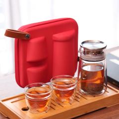 【泡茶宝】湖畔居 便携旅行茶具套装 一壶两杯随身快客杯礼盒 双层玻璃防烫功夫茶具 公关礼品