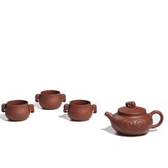 和记张生 吉祥紫砂套壶 紫泥茶具套装(一壶三杯)