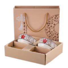 【日式和风】日式手绘陶瓷碗筷套装 四件套(两筷两碗)礼盒 商务馈赠礼品