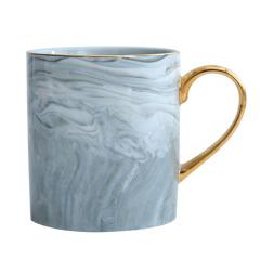 ins風 大理石紋簡約描金咖啡杯 早餐杯 馬克杯定制 辦公室人員適合什么禮品