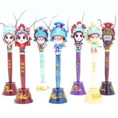 中国风京剧人物摆件 脸谱笔 树脂工艺中性笔