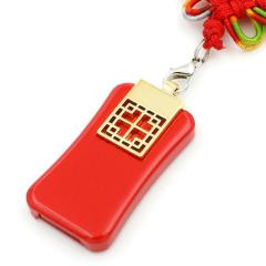 U盘定制 中国风礼品U盘 金属复古大红中国窗花麦子优盘 送给客人的小礼品有什么