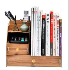 办公用品桌面DIY特色logo定制多层资料木质收纳盒  创意礼品制作