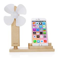 seenda创意原木桌面小风扇平板支架 手机座 USB风扇