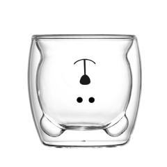 网红小熊造型双层杯玻璃杯 高硼硅耐热玻璃材质 小游戏什么奖品比较好