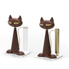 MUSOR 贵妇猫插花器 猫咪花瓶实木干花插花家居摆件花瓶客厅装饰 工艺礼品摆件