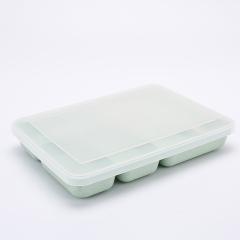 小麦秸秆密封分格饭盒 可微波炉加热便当盒--北欧绿(510B)创意促销礼品