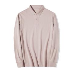 【一件与肌肤呼吸的POLO衫】  商务男士全棉珠地网眼面料 长袖t恤纯色 企业定制工作服