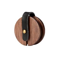原創設計 黑胡桃木實木耳機收納器 創意復古繞線器 手機耳機數據線理線器 - 圓款 銀行送客戶禮品