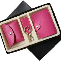 多彩韩版卡包 钥匙扣 零钱包三件套 简约礼盒套装 实用促销礼品