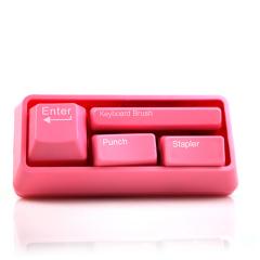 創意電腦鍵盤辦公文具套裝(迷你打孔器+訂書機+鍵盤刷+回形針吸附器)