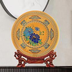 中国牡丹花开富贵办公室赏盘 客厅乔迁礼品送人摆件 可定制