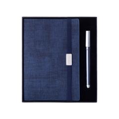 松紧带笔记本礼盒 简约纯色 高档皮面记事本 商务办公礼盒套装