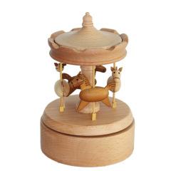 旋转木马八音盒 可定制榉木音乐盒 天空之城木质音乐盒定做