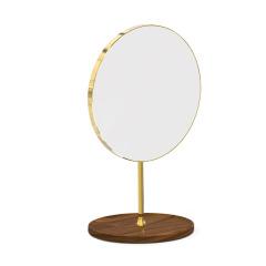 MUSOR 托盤萬向款實木鏡子高清單面簡約圓形美容鏡子 女員工禮品