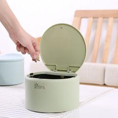 桌面按壓彈蓋式圓形垃圾桶 收納桶--抹茶綠
