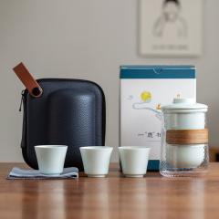 【一鹿相伴纯色版】一壶三杯茶具套装 商务旅行快客杯礼盒 伴手礼