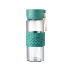皮革纹理硅胶防烫玻璃杯 北欧风时尚水杯 便携随手杯 送什么礼品好