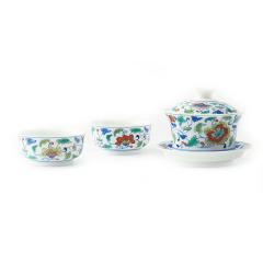 【中国国家博物馆】青花斗彩三头茶具  精巧设计 文创礼品