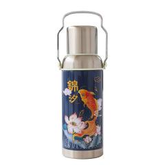 仙鹤戏鱼 复古暖水壶造型保温杯 大容量不锈钢杯600ML 创意礼品