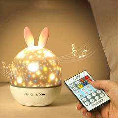 兔子音乐盒投影灯 星空投影灯卧室床头小夜灯 儿童生日礼物创意礼品
