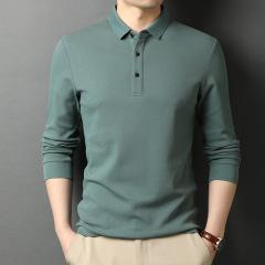 男装长袖Polo衫 纯色基础款翻领T恤 工会搞活动发什么奖品