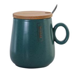 简约商务风墨绿满天星带盖带勺陶瓷杯 公司周年纪念品
