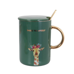 SMILE TO MYSELF 描金INS风动物带盖ZAKKA杯 陶瓷杯 办公咖啡杯 马克杯 员工生日礼物