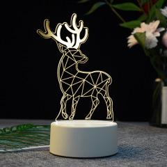 【梅花鹿】亚克力3D小夜灯  ABS环保地座 图案支持定制 定做礼品