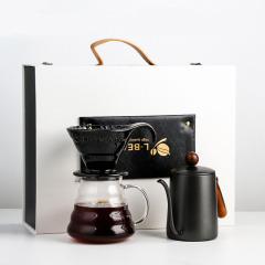 LBEANS木柄复古风手冲咖啡壶礼盒套装 搞活动送些实用的礼品