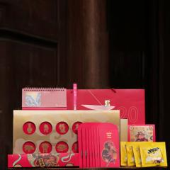 【长乐未央年礼系列】2021牛年新春吉牛纳福礼盒 对联+台历+琉璃香器+坚果 新年礼盒送什么