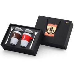 高端时尚幸福亲子杯餐具套装 亲子杯+勺子礼盒 拓展高端小区客户礼品
