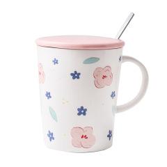 小清新手绘风马克杯 带盖勺陶瓷杯 公司生日礼物
