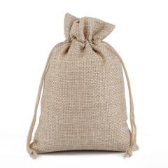 抽绳束口环保竹炭亚麻色布袋    饰品礼品包装袋定制