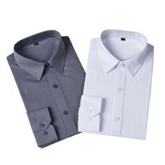 男女同款职业装长袖衬衫 可定制公司职员服 修身商务纯色正装