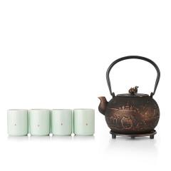 菲馳(VENES)盛世東方鐵離子一壺四杯養生套裝泡茶煮茶茶壺+200ML青瓷杯x4套裝 高端客戶送什么禮品