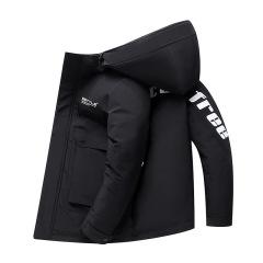 冬季男士加厚保暖短款羽绒服 时尚印花立领工装外套 可公司定制logo