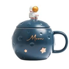 Moon月球杯 带盖勺桌面陶瓷杯 创意宇航员大肚杯 家用办公马克杯 中秋小礼品