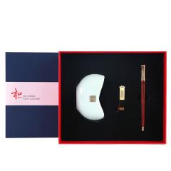 【和系列】商务创意礼品套装三件套 名片座+红木笔礼盒 团结活动奖品买什么好