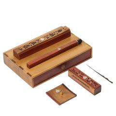 自在香炉六件套 卧香炉线+香檀+香炉+香筒+香熏炉香几+香针 特色礼品