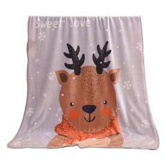 【小鹿】动物图案法兰绒毛毯 平整走线小包边 活动礼品清单