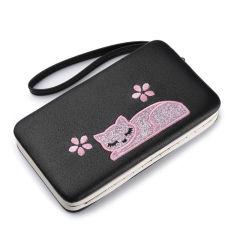 卡通可爱长款女钱包 刺绣小猫咪大容量手包  小礼品创意