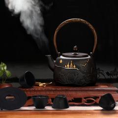 菲馳(VENES)夢迴東方原生鐵壺套裝泡茶煮茶茶壺鐵杯套裝 高端商務禮品
