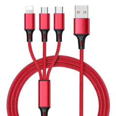 胶囊装尼龙编织绳三合一充电线 iphone type-c micro-usb数据线 最实用的小礼品