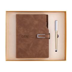 【礼盒装】U型磁扣插袋笔记本 A5变色PU笔记本签字笔两件套 商务礼品定制