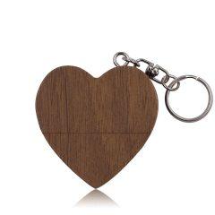 爱心木头创意造型心形U盘    公司聚会活动小礼品