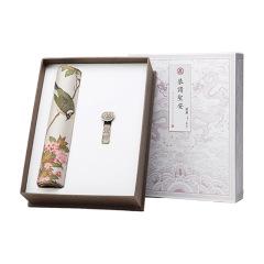【宫廷花鸟】文化礼品套装 真丝鼠标垫+合金如意U盘16G两件套 创意中国文化礼品