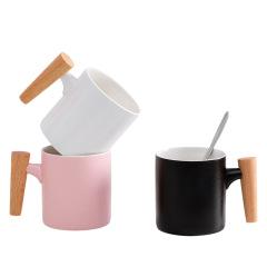 创意素色日式水杯木柄陶瓷杯创意学生牛奶咖啡杯带盖 实用小礼品