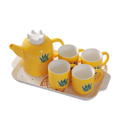 北歐INS風 仙人掌 菠蘿 獨角獸創意家居杯壺套裝 咖啡壺 冷水杯六件套禮盒 房地產小禮品
