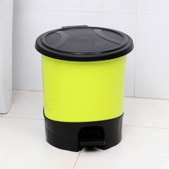下架 5.5L脚踏式环保垃圾桶/卫生桶--黄色(921)